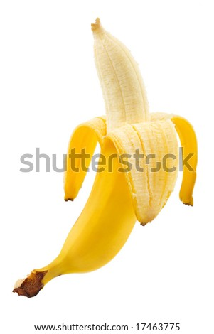 Ripe peeled banana isolated on white background - stock photo