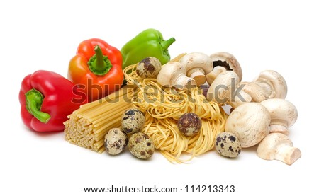 ripe peppers, pasta, mushrooms and quail eggs isolated on white background