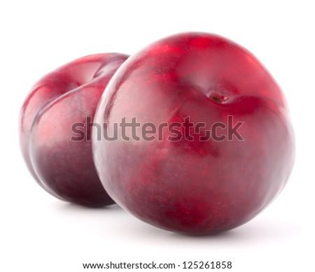 Ripe plum  fruit isolated on white background cutout