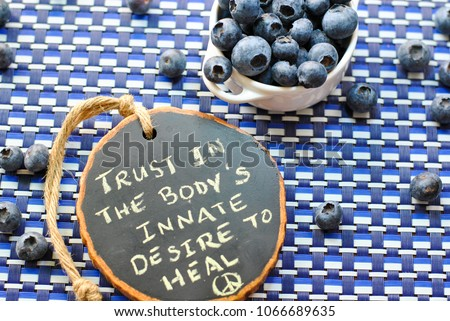 Ripe plump organic farmers market blueberries on a multi-hued blue and white checked background with a hand written chalk sign reading Trust in the body's innate desire to heal with a peace sign.