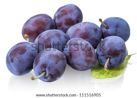 Ripe plums isolated on white background