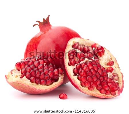 Ripe pomegranate fruit isolated on white background cutout