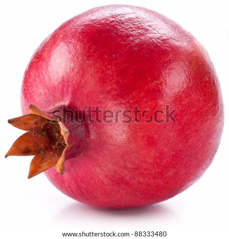 Ripe pomegranate isolated on a white background.