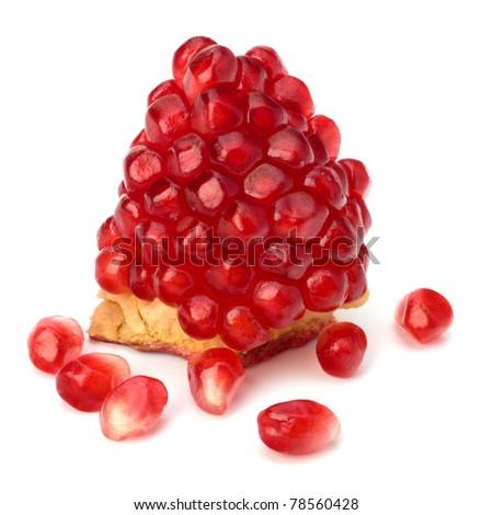 Ripe pomegranate piece  isolated on white background