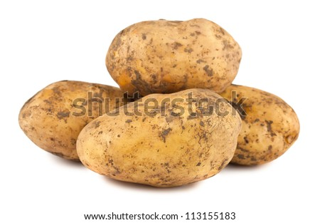 Ripe potatoes isolated on white background