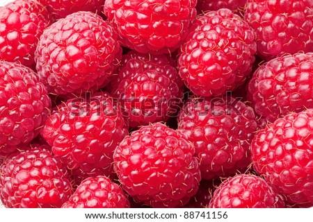 Ripe raspberries -food background.