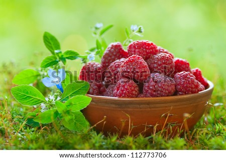 Ripe raspberries in a clay bowl