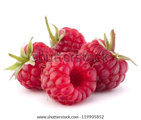 Ripe raspberries isolated on white background cutout #119905852