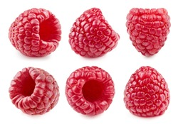Ripe raspberry isolated on white. Big raspberry collection Clipping Path. Tops set raspberry.