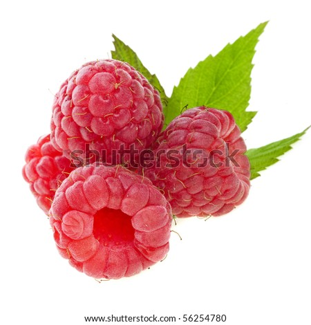 Ripe Raspberry with green leaves close up isolated on white background