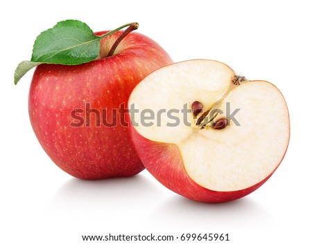 Ripe red apple fruit with apple half and green apple leaf isolated on white background. Apples and leaf with clipping path #699645961
