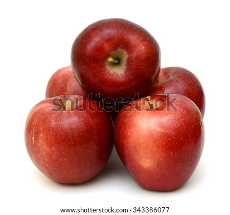 Ripe red apple fruits isolated on white background