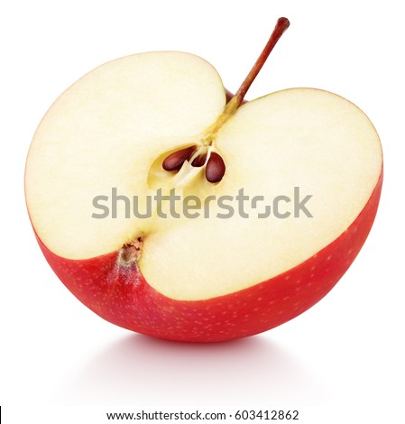 Ripe red apple half fruit isolated on white background. Half of red apple fruit with clipping path