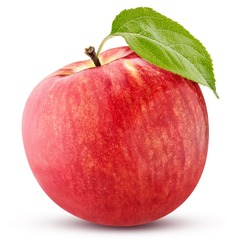 ripe red apple with a green leaf isolated on white background