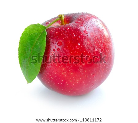 Ripe red apple with a leaf on a white background