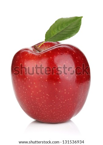 Ripe red apple with green leaf. Isolated on white background