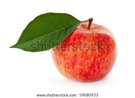 Ripe red apple with leaf isolated on white background