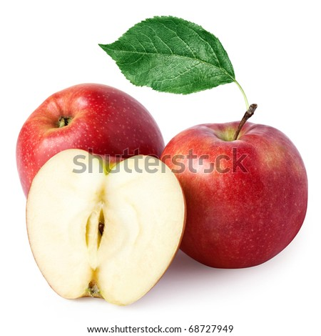 ripe red apple with two halves + Clipping Path
