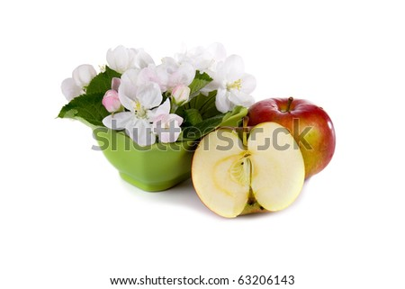 Ripe red apples and apple-tree blossoms on a white background