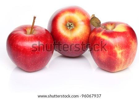 Ripe red apples. Isolated on a white background.