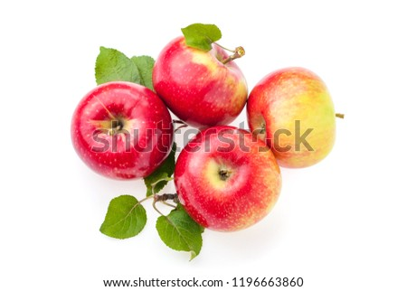 ripe red apples top view, isolate on white background