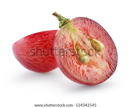 Ripe red grape isolated on white. With clipping path. Full depth of field. #524342545