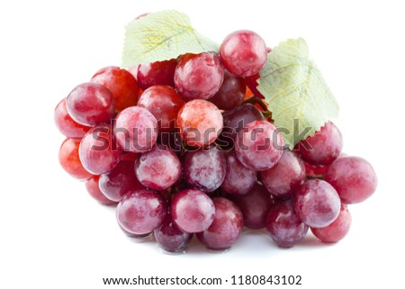 Ripe red grape on white background #1180843102