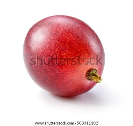 Ripe red grape. One berry isolated on white. Full depth of field. #503311102