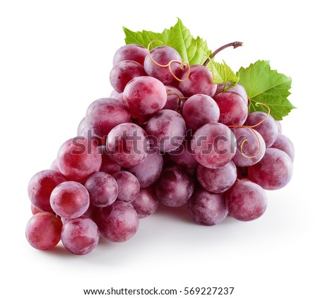 Ripe red grape. Pink bunch with leaves isolated on white. With clipping path. Full depth of field. #569227237