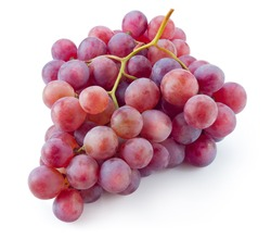 Ripe red grape. Pink grape isolated on white. With clipping path. Full depth of field.