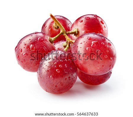 Ripe red grape with drops isolated on white. With clipping path. Full depth of field.