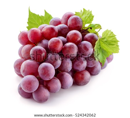 Ripe red grape with leaves isolated on white. With clipping path. Full depth of field. #524342062
