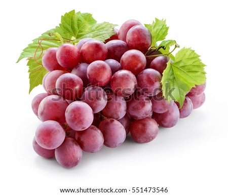 Ripe red grape with leaves isolated on white. With clipping path. Full depth of field. #551473546