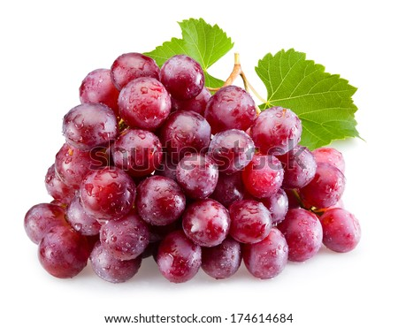 Ripe red grapes with leaves isolated #174614684