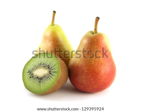 Ripe red pears with half of kiwi on white background. Isolated fruit. Healthy fruit with vitamins.