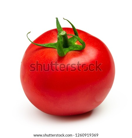 Ripe red tomato isolated on white background #1260919369
