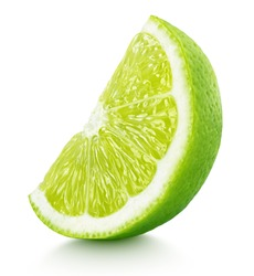 Ripe slice of green lime citrus fruit stand isolated on white background. Lime wedge with clipping path