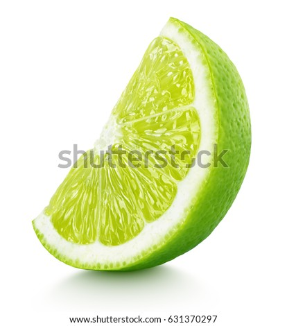 Ripe slice of green lime citrus fruit stand isolated on white background. Lime wedge with clipping path #631370297