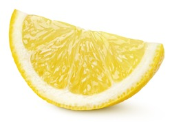 Ripe slice of yellow lemon citrus fruit isolated on white background with clipping path. Full depth of field.