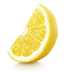 Ripe slice of yellow lemon citrus fruit stand isolated on white background. Lemon citrus fruit wedge with clipping path