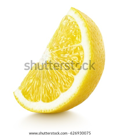 Shutterstock Ripe slice of yellow lemon citrus fruit stand isolated on white background. Lemon citrus fruit wedge with clipping path