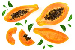 ripe slice papaya isolated on a white background. Top view. Flat lay