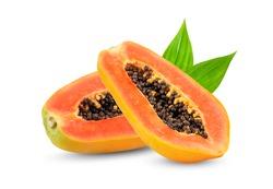 ripe slice papaya with leaf isolated on white background. full depth of field