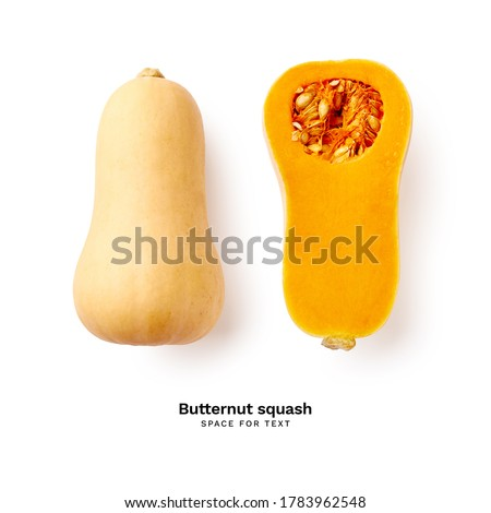 Ripe sliced butternut squash isolated on white background with copy space Foto stock ©