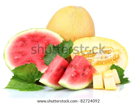 ripe sliced watermelon and melon isolated on white