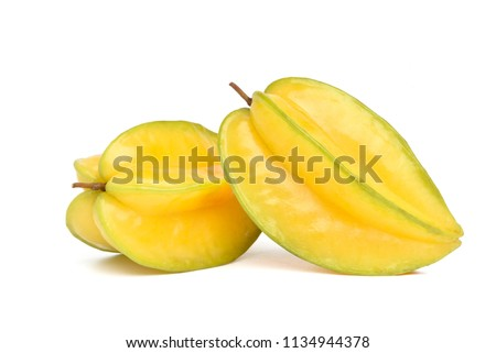 Ripe Star fruit isolated on white background (Averrhoa carambola, star apple, starfruit)  Сток-фото ©