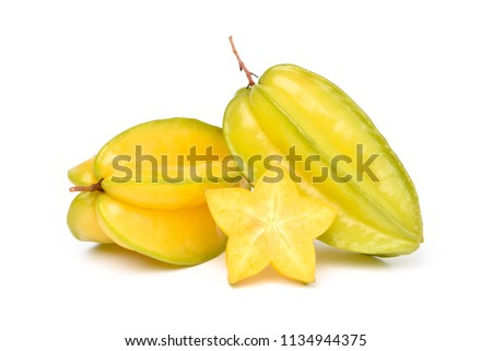 Ripe Star fruit with slice isolated on white background (Averrhoa carambola, star apple, starfruit)  Сток-фото ©