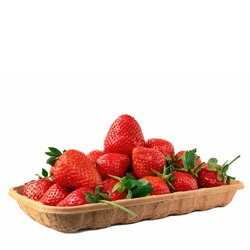 Ripe Strawberries In Brown Paper Box. Strawberry Crate Isolated On White Background. Supermarket Berry Pack Close-Up.