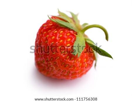 ripe strawberry closeup on white background - stock photo