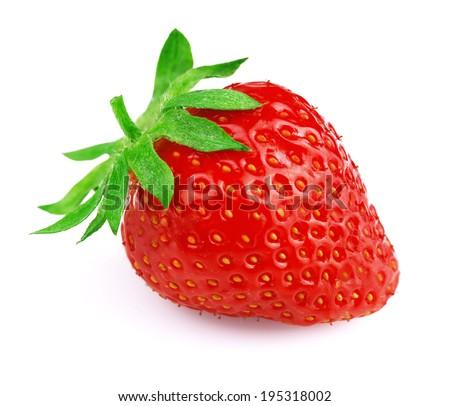 Ripe strawberry isolated on white background #195318002